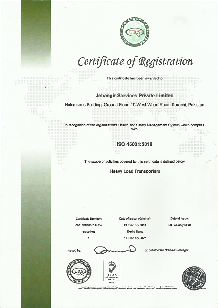 ISO certification – Jehangir Services (Pvt) Ltd
